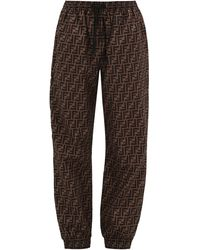 Fendi Pantalon de jogging à logo FF - Marron
