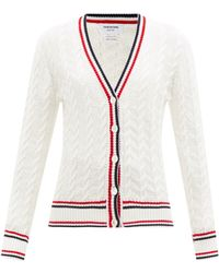 Thom Browne Cable-knit Tricolour-striped Cotton Cardigan - White