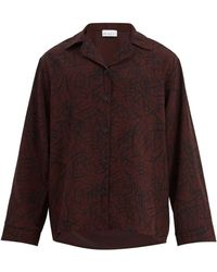 Raey Chemise de pyjama crêpe de soie motif griffonnages - Multicolore
