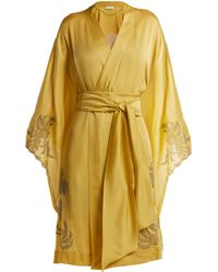 Carine Gilson - Lace Detailed Silk Satin Kimono Robe - Lyst