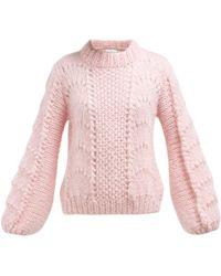 Ganni Julliard Mohair And Wool Blend Jumper - Pink