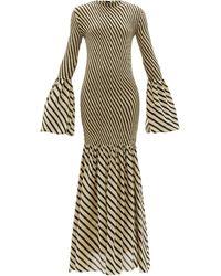 Petar Petrov Alodie Shirred Striped Silk-crepe Dress - Black