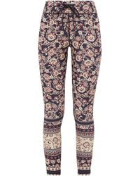 The Upside Paisley-print Stretch-jersey Cropped Leggings - Blue