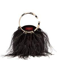 Valentino - Bebop Ostrich Feather Satin Clutch - Lyst