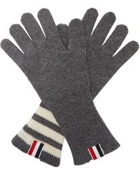 Thom Browne Tricolor Striped-cuff Gloves - Gray