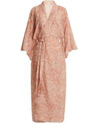 Chufy Kimono à imprimé fleurs de cerisier - Rose