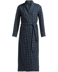 Emma Willis Clark Checked Cotton Robe - Blue