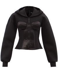 Dolce & Gabbana ジップアップ サテン&スキューバ コルセットジャケット - ブラック