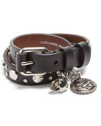 Alexander McQueen - Studded Double-wrap Leather Bracelet - Lyst