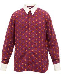 Wales Bonner コントラストカラー フローラルシャツ - レッド