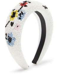 Ganni Floral Beaded Padded Headband - White