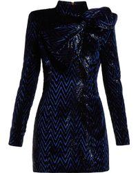 Balmain Chevron Striped Bow Embellished Mini Dress - Blue