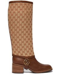 581552fd68f Gucci - Leather Boot With GG Gaiter - Lyst
