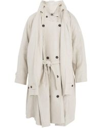 Y. Project - Stand-collar Linen Trench Coat - Lyst