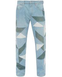 Isabel Marant Julien Patchwork Straight Leg Jeans - Blue
