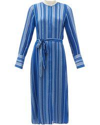 Zeus+Dione Dione Belted Embroidered Silk-blend Shirt Dress - Blue