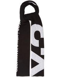 Y-3 ロゴジャカード ウールブレンドスカーフ - ブラック