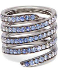 Lynn Ban - Ombré Sapphire & Rhodium Silver Coil Ring - Lyst