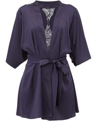 Fleur Of England Iris Short Silk-blend Robe - Blue