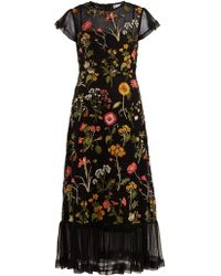 RED Valentino - Floral Embroidered Cotton Mesh Dress - Lyst