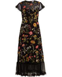 RED Valentino - Robe en résille de coton à broderie florale - Lyst
