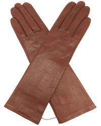 Agnelle Célia Silk-lined Leather Gloves - Brown