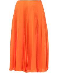 Valentino Pleated Silk-georgette Midi Skirt - Orange