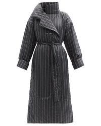 Norma Kamali スリーピングバッグ ストライプ パデッドコート - ブラック