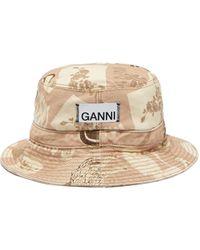 Ganni Logo-print Denim Bucket Hat - Natural
