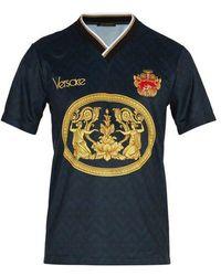 Versace - Archive-print Football V-neck T-shirt - Lyst