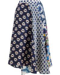 Biyan Jupe en soie asymétrique à imprimé floral Mariko - Bleu