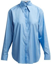 Stella McCartney Exaggerated Collar Cotton Shirt - Blue