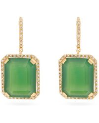 SHAY ポートレート ダイヤモンド&グリーンオニキス 18kゴールドピアス - マルチカラー