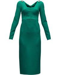Dolce & Gabbana Brooch-embellished Wool-blend Crepe Dress - Green