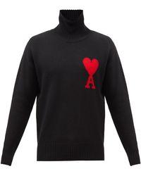 AMI De Coeur タートルネック ウールセーター - ブラック