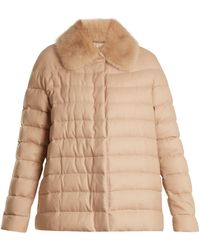 Moncler Gamme Rouge Champlain Fur-trimmed Quilted Down Cashmere Jacket - Natural