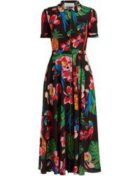 Valentino - Tropical Dream-print Crepe De Chine Midi Dress - Lyst