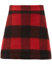 Ganni Check Felted Wool-blend Mini Skirt - Red