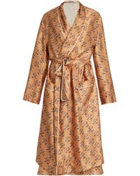Katie Eary - Snake-print Silk-satin Dressing Gown - Lyst