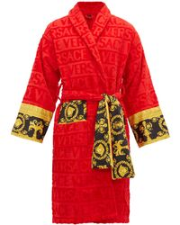 Versace I Love Baroque Logo-jacquard Cotton Bathrobe - Red