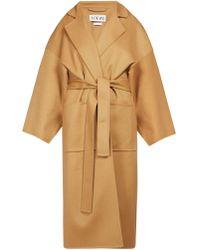 Loewe Piacenza Oversized Belted Wool Blend Coat - Natural