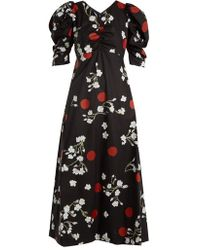 Isa Arfen - Wow Obliterated Blossom-print Ruched Cotton Dress - Lyst