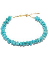 Jacquie Aiche Turquoise & 14kt Gold Anklet - Blue