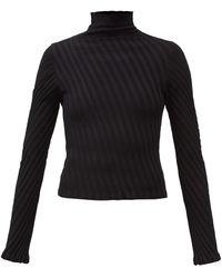 Balenciaga ダイアゴナル リブニット セーター - ブラック