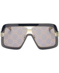 Gucci - GG-logo Oversized Mask Metal Sunglasses - Lyst