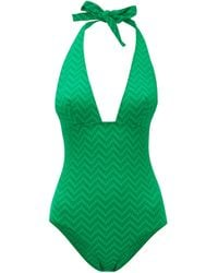 Eres Halterneck Zigzag-knitted Swimsuit - Green