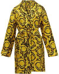 Versace Baroque-print Silk-twill Robe - Yellow
