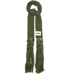 Jil Sander Macramé-tassel Mohair-blend Scarf - Green