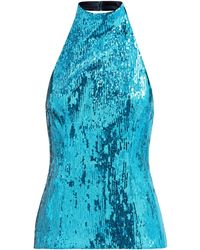 Galvan London オセアナ ホルターネック スパンコールトップ - ブルー