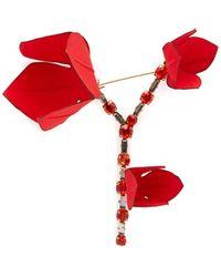 Marni Flower Crystal-embellished Brooch - Red